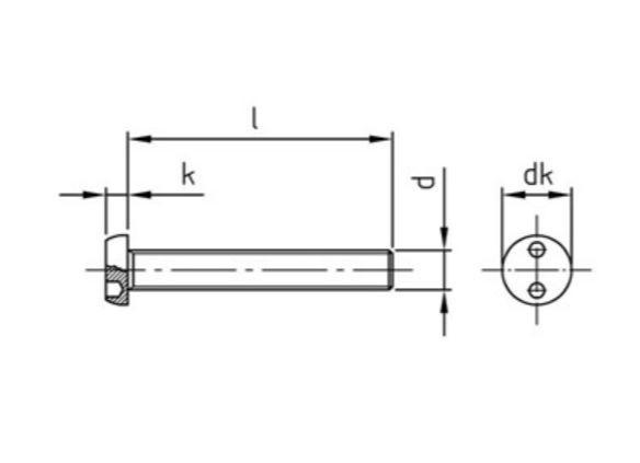 Sicherheitsschraube Zylinderkopf SI-PAN Zweilochantrieb Edelstahl A2