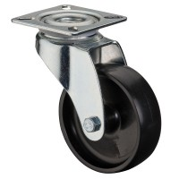 Apparaterolle / Lenkrolle, Kunststoffrad schwarz, Gleitlager, Platte 50 mm
