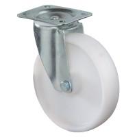 Transportrolle / Lenkrolle, Kunststoffrad weiß, Rollenlager, Platte
