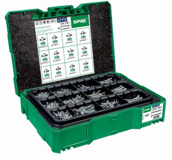 SPAX Box systainer T-Loc I, Schraubenset mit 12 Abmessungen, Wirox, Senkkopf, T-STAR plus, 4Cut