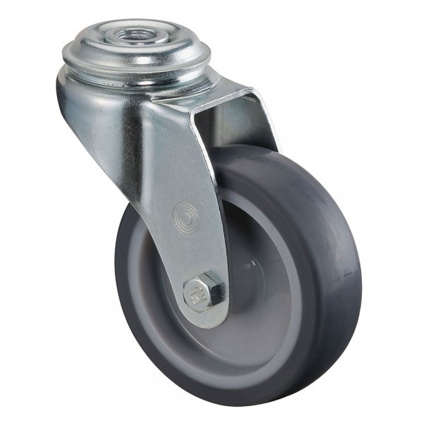 Apparaterolle / Lenkrolle, Gummirad grau, Gleitlager, Rückenloch
