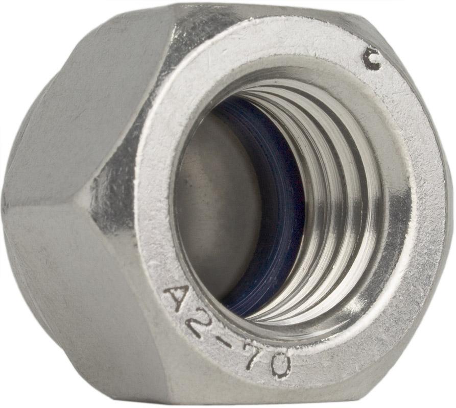 Hutmuttern Edelstahl A2 SC-Normteile V2A - M8 - Sechskant-Hutmutter mit Klemmteil selbstsichernd 10 St/ück - DIN 986 - SC986