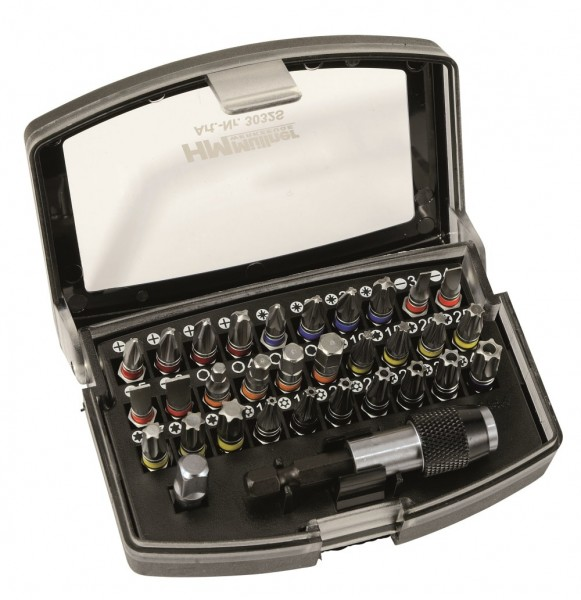 HM Müllner Bit Box 1/4 Antrieb 32teilig farbige Bits PZ,PH,FL,SW,TX,TXB Magnetischer Bithalter 3032S