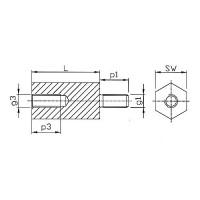 Abstandsbolzen Innen/Aussen mit Gewindefreistich Stahl verzinkt
