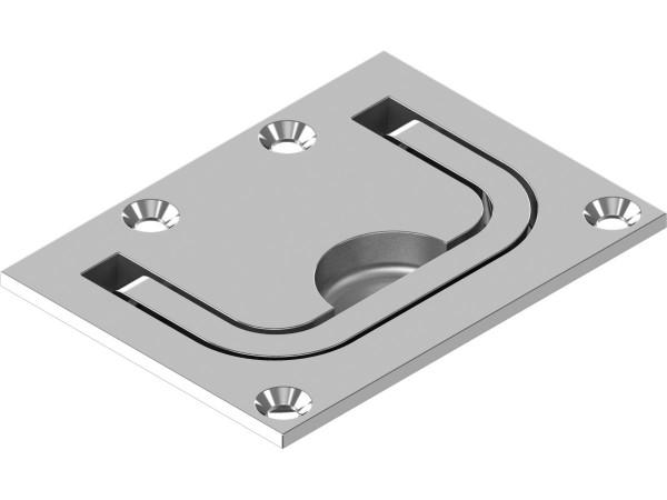 Einlassgriffe / Bodenheber, breit, Feinguss, 76 X 56 X 8,5 mm, Edelstahl A4