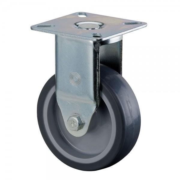 Apparaterolle / Bockrolle, Gummirad grau, Gleitlager, Platte