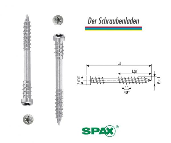 SPAX-D Terrassenschrauben Ø 5 mm Edelstahl A2 Zylinderkopf TORX