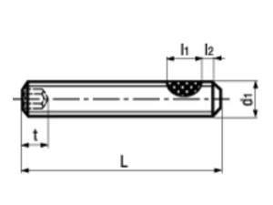 DIN 913/ISO 4026 Gewindestift TufLok® Fleck beschichtet Innensechskant und Kegelkuppe VZ