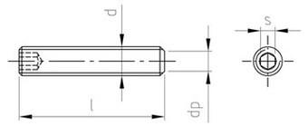 DIN 913/ISO 4026 Gewindestift Feingewinde mit Innensechskant und Kegelkuppe Stahl schwarz