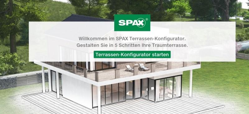 Spax Terrassen-Konfigurator Start - Tablet Landscape