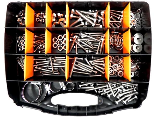Sortimentskoffer mit und für metrische Schrauben, Edelstahl A4, Set 1, 375 tlg. Koffer schwarz