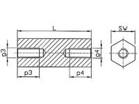 Abstandsbolzen / Distanzhalter Distin® Innen/Innen Stahl verzinkt