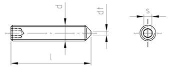 ehemals DIN 914 galv verzinkt getempert Madenschrauben 10 St/ück 10X M6x8 Gewindestifte mit Innensechskant und Spitze 45H nach DIN EN ISO 4027