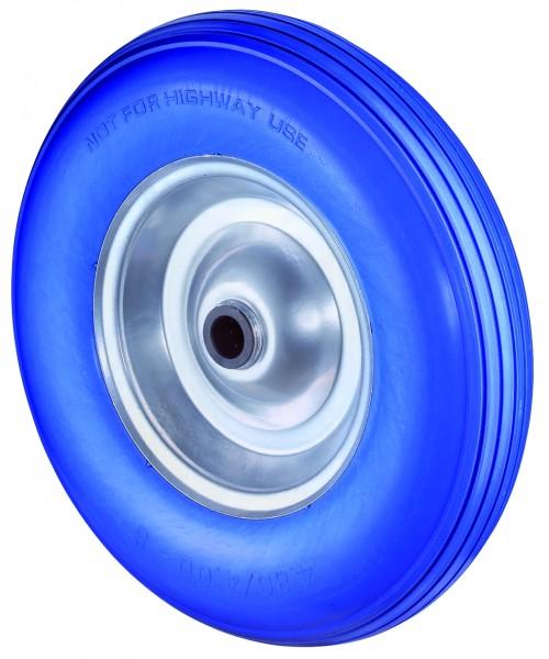Polyurethanrad (pannensicher), Polyurethan blau, Rillenprofil, Rollenlager C91.400