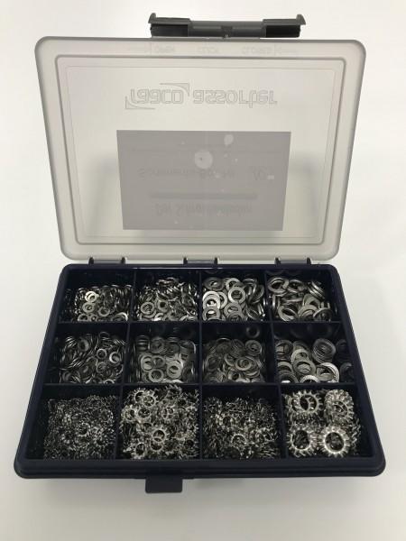 Sortiments-Box 10 Edelstahl Federringe DIN127, Fächerscheiben DIN 6798-A, Schnorrscheiben