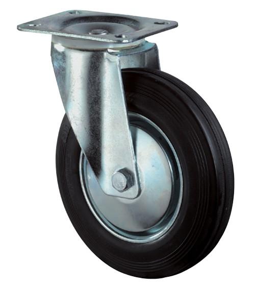 Transportrolle / Lenkrolle, Gummirad, Stahlfelge, Platte