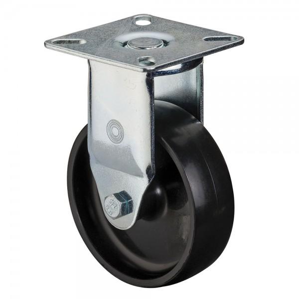 Apparaterolle / Bockrolle, Kunststoffrad schwarz, Gleitlager, Platte