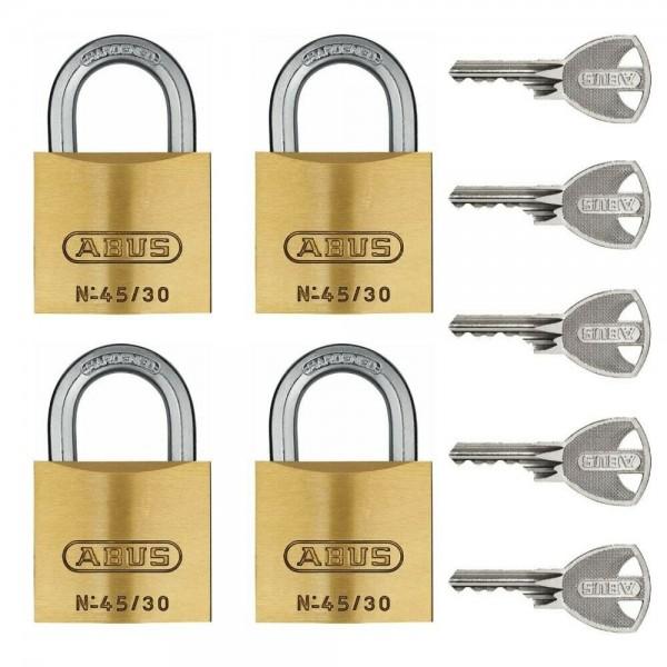 ABUS Quad 4er Set Vorhängeschloss Messing 45/30 gleichschließend inkl. 5 Schlüssel