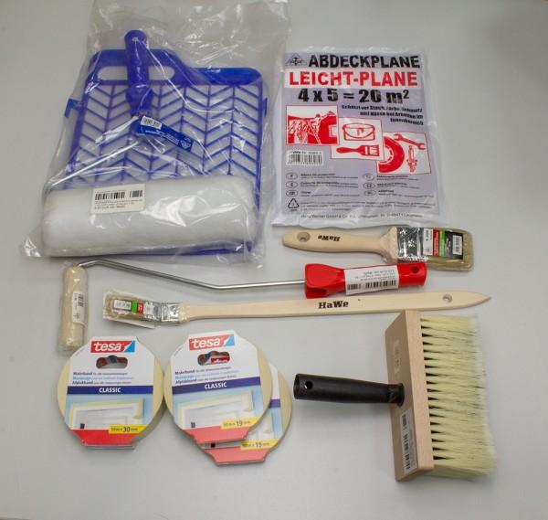 MALERSET 4 - 3x TESA Malerband, HaWe Flachpinsel, Farbrollen etc.
