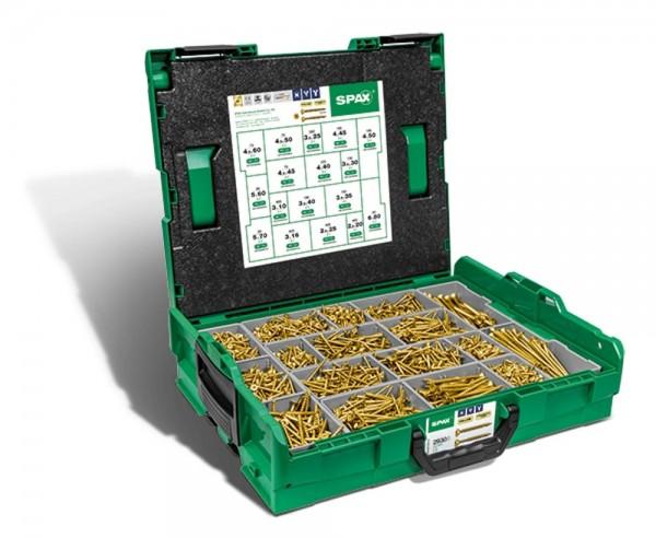 Spax Montagekoffer L-BOXX, Schraubenset mit 17 Abmessungen, YELLOX, Senkkopf, Kreuzschlitz Z, 4CUT