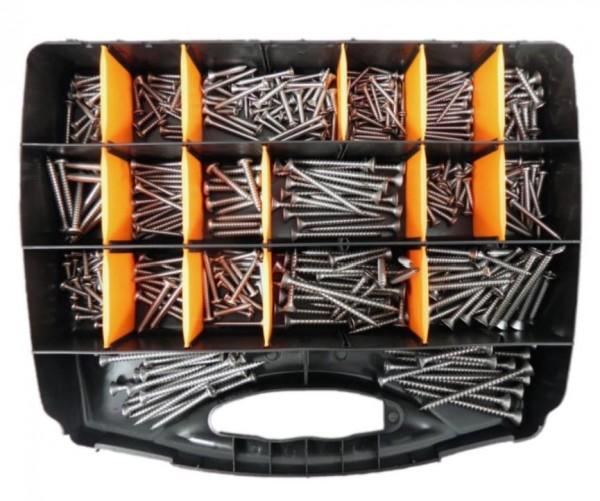 Sortimentskoffer mit Blech- und Holzschrauben, Edelstahl A4, Set 2, 430 tlg. Koffer schwarz