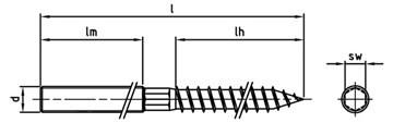 Stockschraube mit Holz- und ISO-Gewinde Edelstahl A2