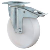 Transportrolle / Lenkrolle m. Feststeller, Kunststoffrad weiß, Rollenlager, Platte