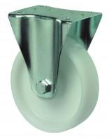 Transportrolle / Bockrolle, Kunststoffrad weiß, Rollenlager, Platte
