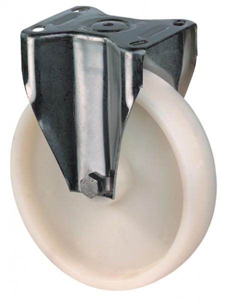 Edelstahl Transportrolle / Bockrolle, Kunststoffrad weiß, Gleitlager, Platte