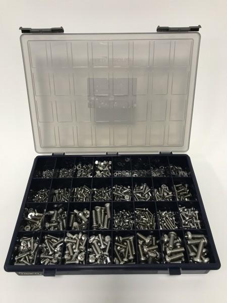 Sortiments-Box 14 Edelstahl-MIX Schrauben PH, Muttern & Unterlegscheiben bestückt