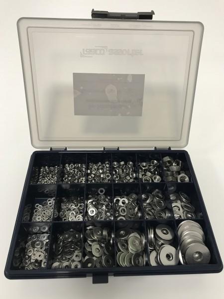 Sortiments-Box 6 Edelstahl A2 Muttern & Unterlegscheiben DIN 934, DIN 125 & DIN 9021