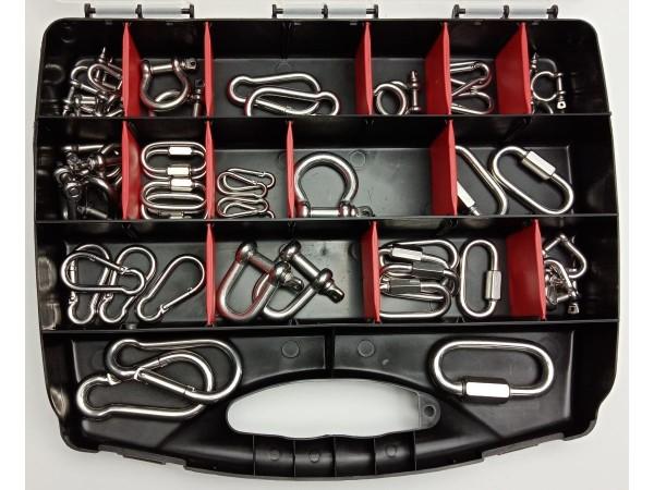 Sortimentskoffer mit Karabinerhaken und Schäkel, Edelstahl A4, Set 4, 50 tlg. Koffer schwarz