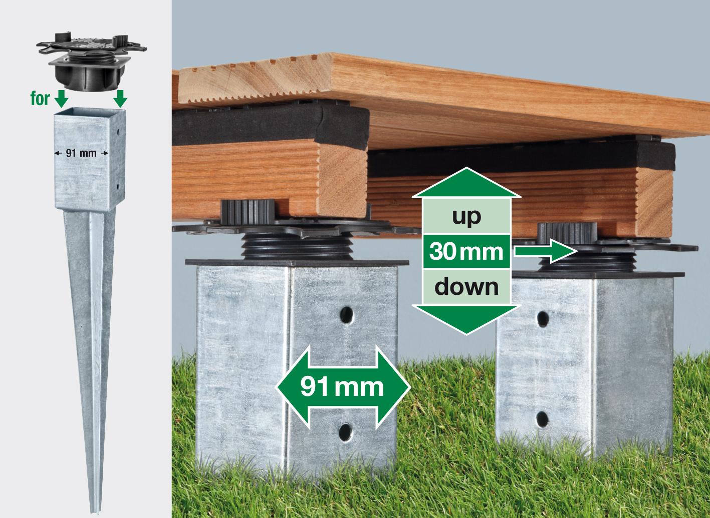 SPAX Freelift Terrassenträger 20mm, höhenverstellbar für Bodenhülsen