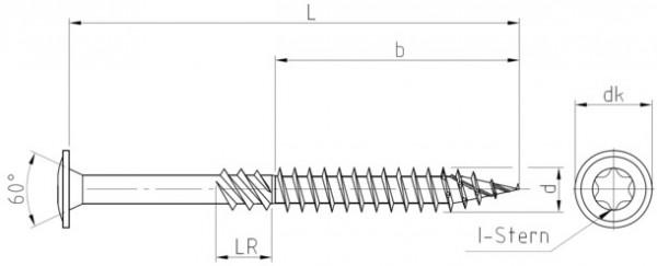 Tellerkopf Konstruktionsschrauben für den Holzbau, Torx® , galv. verzinkt