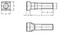 DIN 787 Schrauben für T-Nuten, Stahl 8.8 brüniert, T-Nutenschrauben