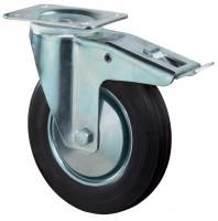 Transportrolle / Lenkrolle mit Feststeller, Gummirad, Stahlfelge, Platte