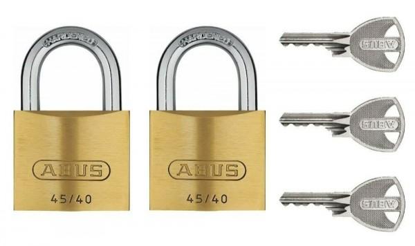 ABUS Twins 2er Set Vorhängeschloss Messing 45/40 gleichschließend inkl. 3 Schlüssel